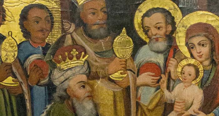 Фрагмент ікони XVIII століття «Поклоніння волхвів»