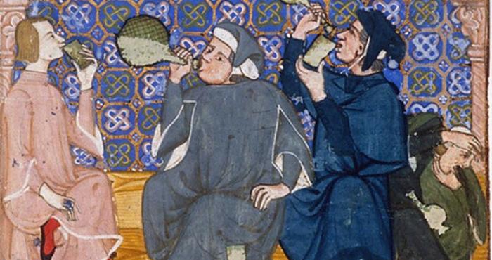 Гріх обжерливості й пияцтва. Сцена в таверні. XIV століття.