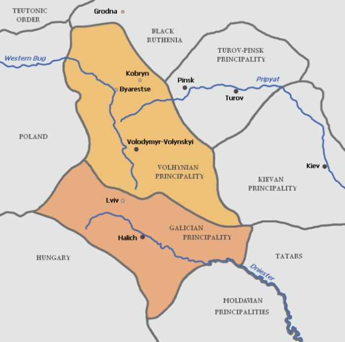 Карта Волинського і Галицького князівств