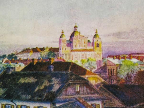 Костел на малюнку Лемана 1915 року. Фото з набору листівок
