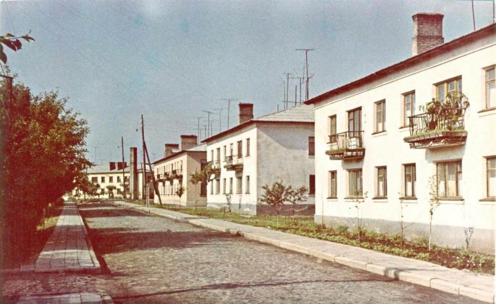 Один з перших кольорових фотознімків міста Рожище.1970 рік. ВулицяПушкінаабо так звані «черьомушки»набула свого остаточного вигляду в 1969 році, коли закінчили вимощувати вулицю та тротуари, і деревця маленькі вже прийнялися.