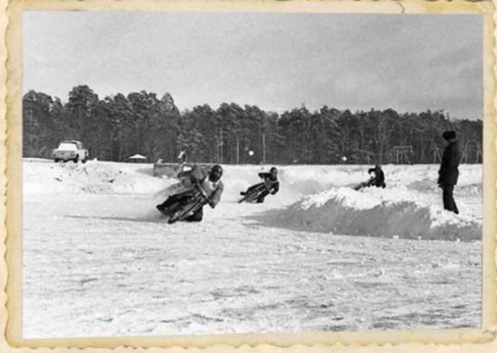 Зимовий спідвей на озері Комсомольське. 1989 рік