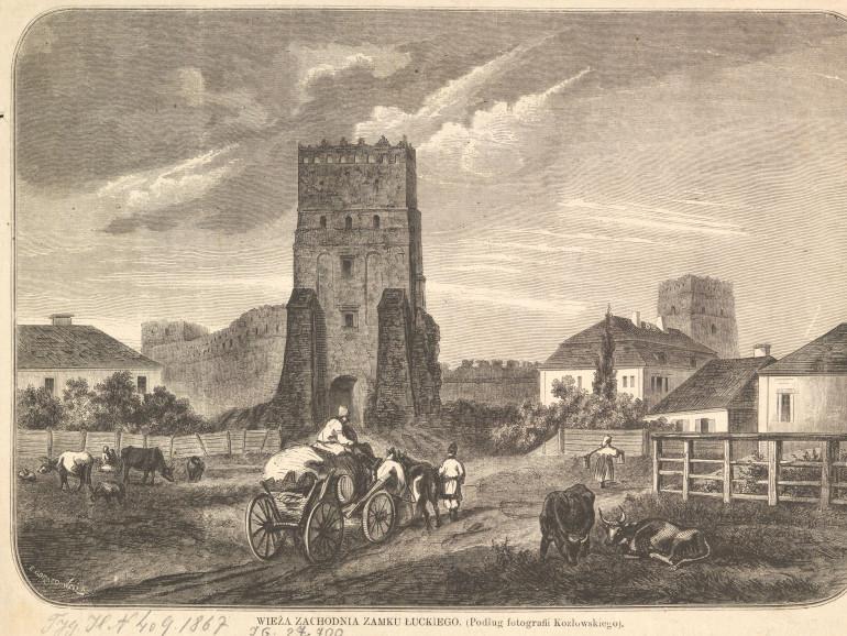 Гравюра «Західна вежа замку в Луцьку», до 1900 року