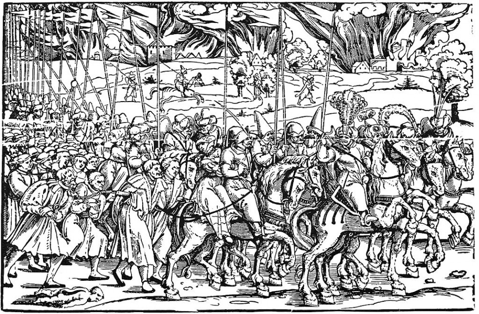Гравюра Ерхара Шьона «Татари з ясиром», 16 століття